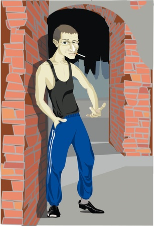 Man thief hooligans in the alley, a thug on the street, gangster in the city, illustration