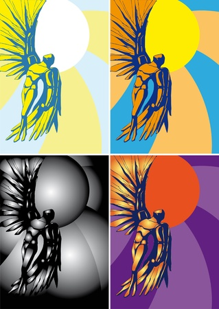 icarus: Icarus, vector illustration, background, flying to the Sun people