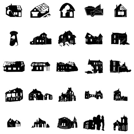 homes: Battered and broken homes silhouettes in black