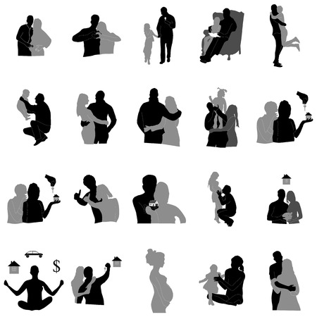black family: Family relationships and silhouettes in black and gray Illustration