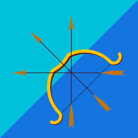 longbow: Sports the bow and arrow on the two-tone background. Picture style flat