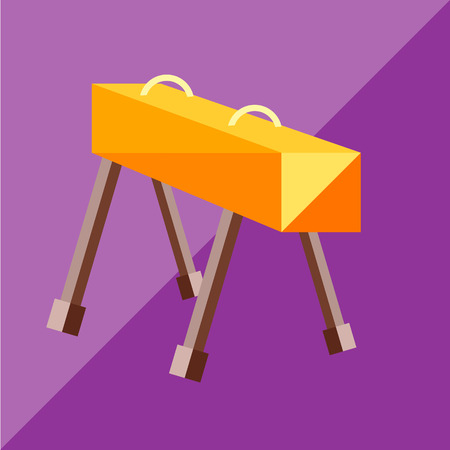pommel: The pommel horse to the two-tone background. Picture style flat
