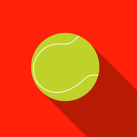 tennisball: Tennis ball with long shadow on red background. Picture style flat