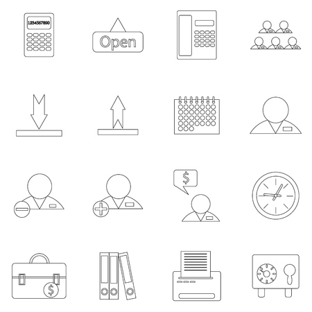fine lines: A set of contour business icons on white background. Fine lines Illustration