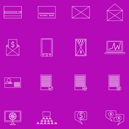 fine lines: A set of contour business icons on purple background. Fine lines Illustration