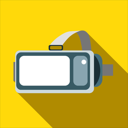 Helmet virtual reality VR on a yellow background. New technology for watching movies and games in 3D format with the smartphone. Vector image in flat style with long shadow .