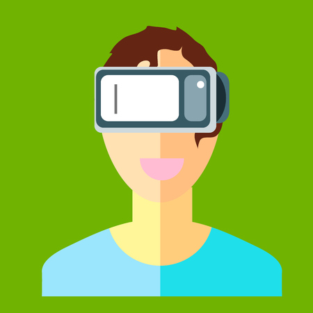 Man in a helmet virtual reality VR on a green background. New technology for watching movies and games in 3D format with the smartphone. Vector image in flat style. Illustration