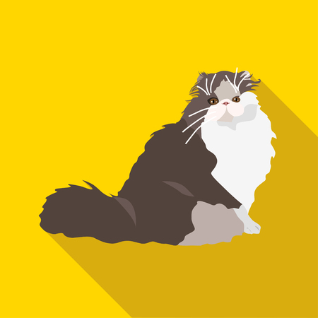breeds: Cats of different breeds with long shadow. Picture style flat