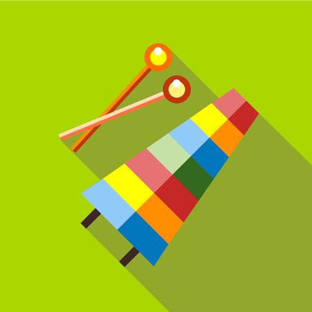 xilofono: xilófono de juguete musical de los niños sobre un fondo rojo. estilo de imagen plana