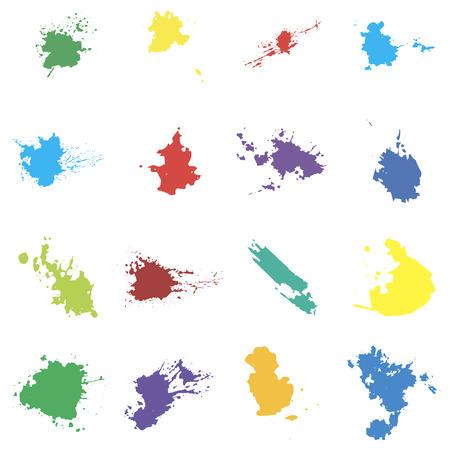 blots: Colored vector blots. Seth blots on a white background. Blots design element Illustration