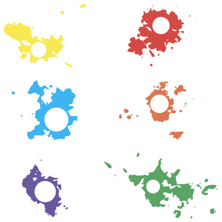 blots: Colored vector blots with space for inscriptions. Seth blots on a white background. Blots design element