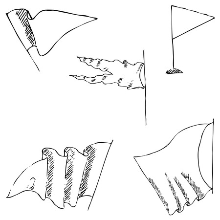 folded hand: Flags sketch. Pencil drawing by hand. Vector image