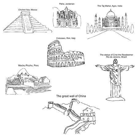 The modern seven wonders of the world. Sketch pencil. Drawing by hand. Vector image Illustration