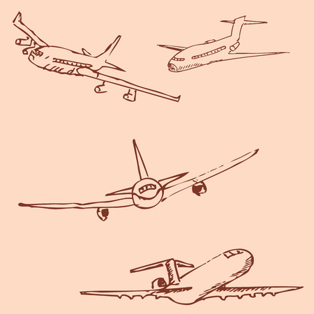 jet airplane: Aircraft. Pencil sketch by hand. Vintage colors. Vector image Illustration