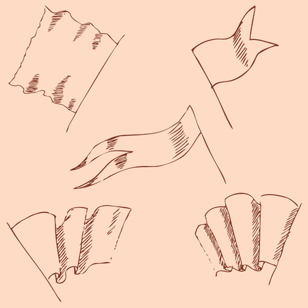folded hand: Flags sketch. Pencil drawing by hand. Vintage colors. Vector image
