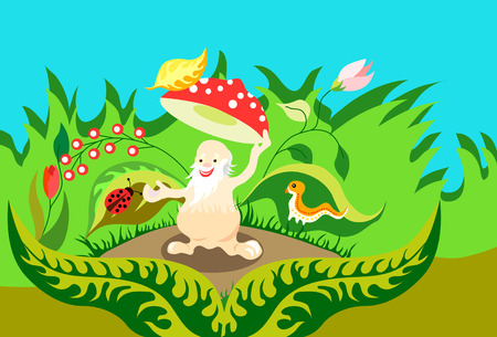 fly agaric: Jolly old man fly agaric mushroom takes off his hat in greeting. Illustration