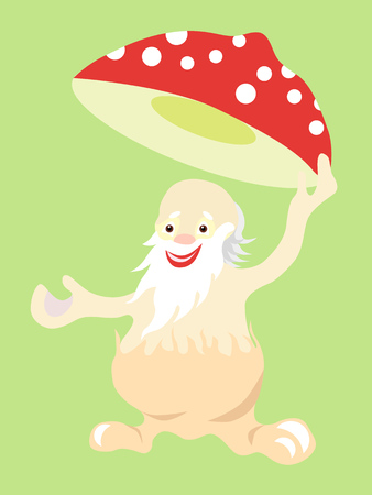 Jolly old man fly agaric mushroom takes off his hat in greeting. Illustration