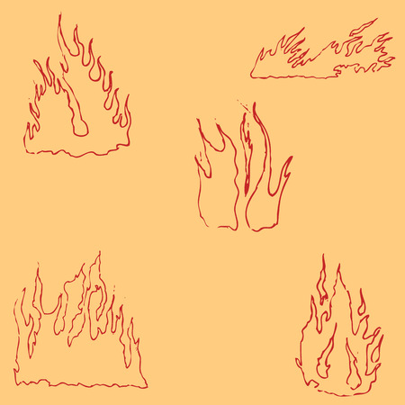 ketch: Fire. Sketch by hand. Pencil drawing by hand. Vector image. The image is thin lines. Vintage Illustration