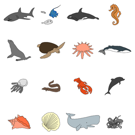 inhabitants: Icons of sea inhabitants in a flat style with a black stroke. Vector image on a round colored background. Element of design, interface Illustration