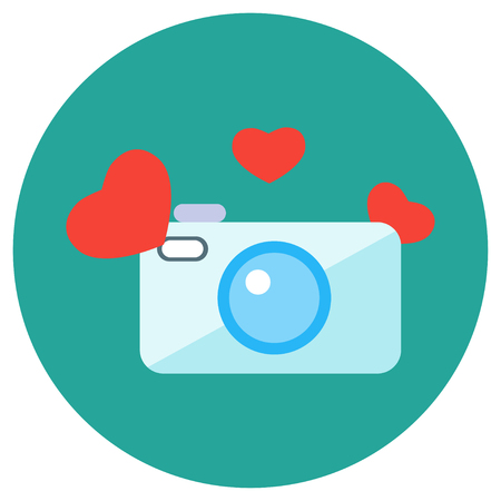 february calendar: Valentine Day. Icons in a flat style on a round background. Vector image. Element of design, interface