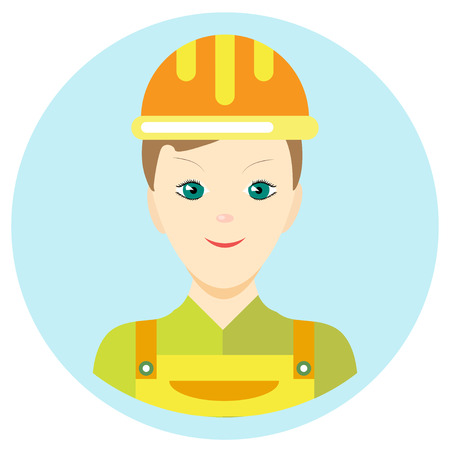 Icon man builder in a flat style. Vector image on a round colored background. Element of design, interface. Image in the cartoon style