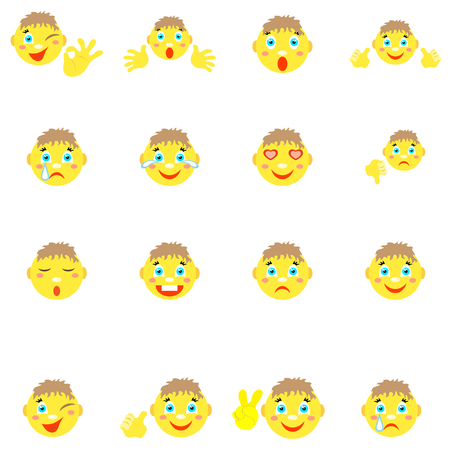 Smilies boys with different emotions  gestures. Illustration