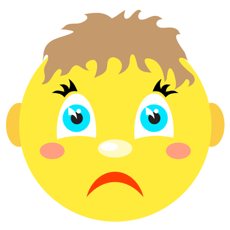 lugubrious: Sad smiley boy. Icons on a white background. Illustration