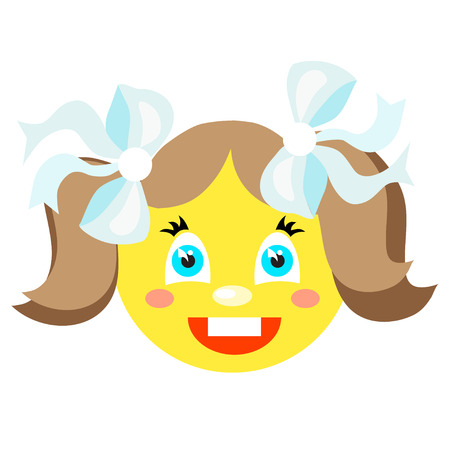 Smiley girl laughs. Icons on a white background. Vector image