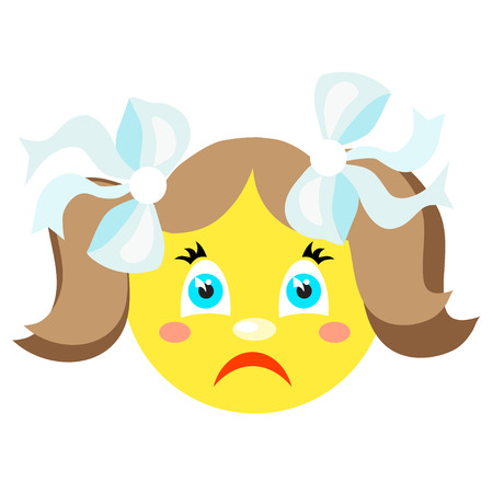 lugubrious: Sad smiley girl. Icons on a white background. Illustration