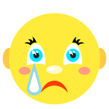 Smiley cries. Icons on a white background. Vector image in a cartoon style