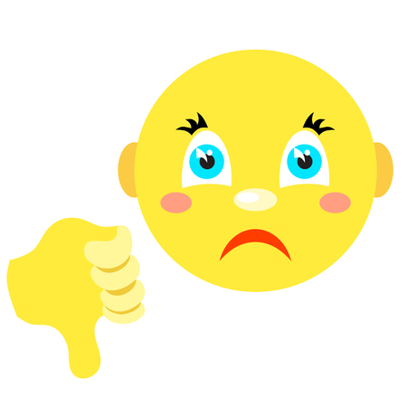 hate: Smiley with thumb thumb down. Icons on a white background. Vector image in a cartoon style