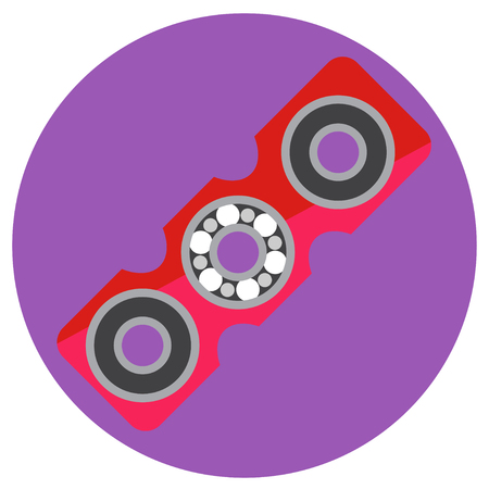 Pink rectangular spinner with center bearing a flat style. Vector image on a round purple background. Element of design, interface.