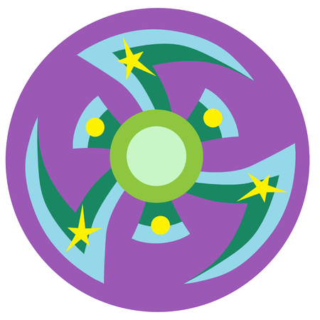 Blue and green spinner with pointed blades a flat style. Vector image on a round purple background. Element of design, interface. Illustration