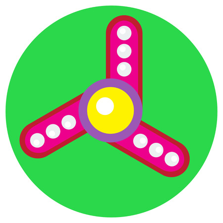 Pink spinner with white balls a flat style. Vector image on a round light green background. Element of design, interface.