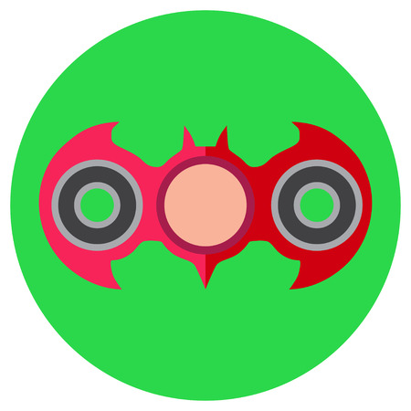 Pink hand-spinner in the form of a bat. Icon a flat style. Vector image on a round light green background. Element of design, interface.