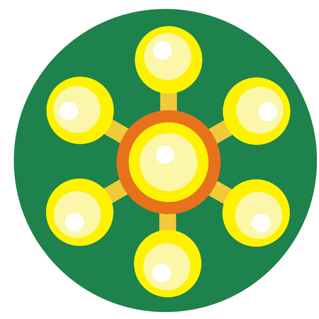 spare: Yellow spinner with balls on blades a flat style. Vector image on a round dark green background. Element of design, interface.
