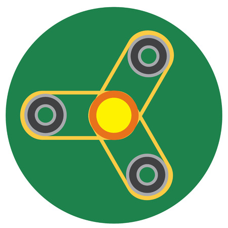 Yellow spinner with transparent center a flat style. Vector image on a round dark greenbackground. Element of design, interface.