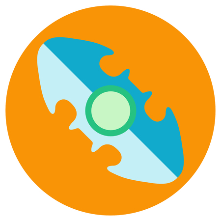 Blue oval spinner a flat style. Vector image on a round orange background. Element of design, interface.