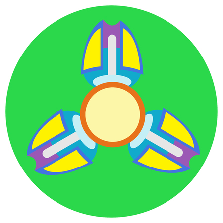 spare: Yellow with purple spinner with three blades a flat style. Vector image on a round light green background. Element of design, interface. Illustration