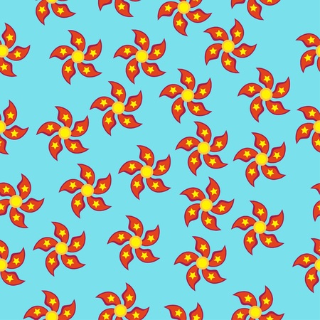 Red spinner with five blades in the form of petals and stars a flat style. Seamless pattern on a blue background. Illustration