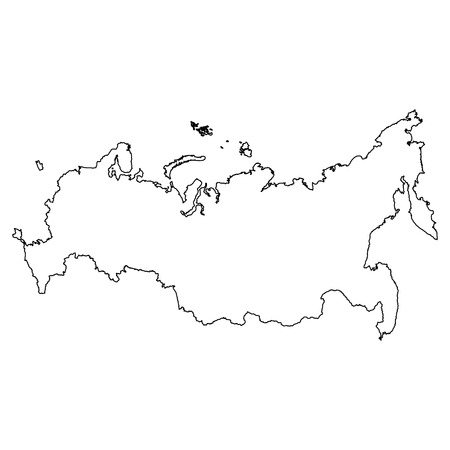 Map of Russia with a red filling. Vector image.