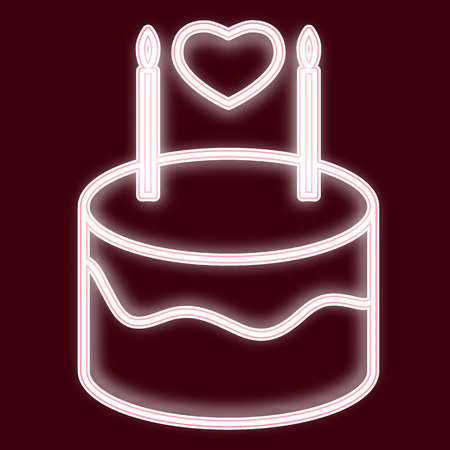 Image of a birthday cake with candles and heart. Icon with the effect of neon glow. The symbol of Valentine s Day. Vector image.