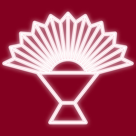 The image of a fan. Icon with the effect of neon glow. The symbol of the Chinese new year. Vector image.