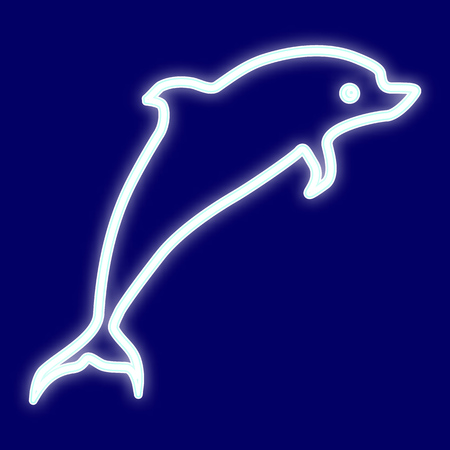 The image of a Dolphin. Icon with the effect of neon glow. Vector image.
