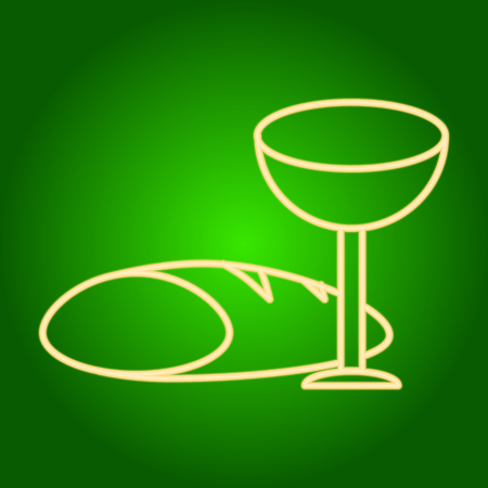 Icon of a glass of wine and bread. Easter. Neon icon. Neon sign. Effect of neon glow. Vector Image.