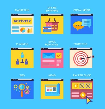 digital news: Flat icons of digital marketing, video advertising, social media campaign, newsletter promotion, pay per click service, website seo optimization.  Illustration
