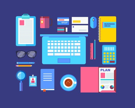 office stuff: Modern design flat icon vector collection concept in stylish colors of business workflow items and elements.