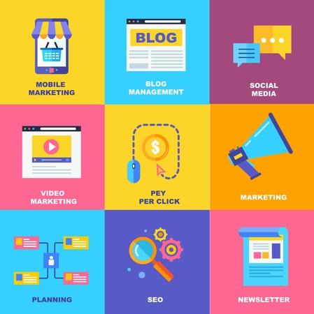 Flat icons of digital marketing, video advertising, social media campaign, newsletter promotion, pay per click service, website seo optimization. Flat design modern vector illustration concept.