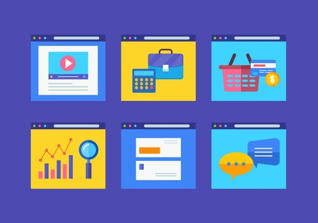 financial item: Modern flat icons vector collection in simple window browser of web business communication and financial item.  Illustration