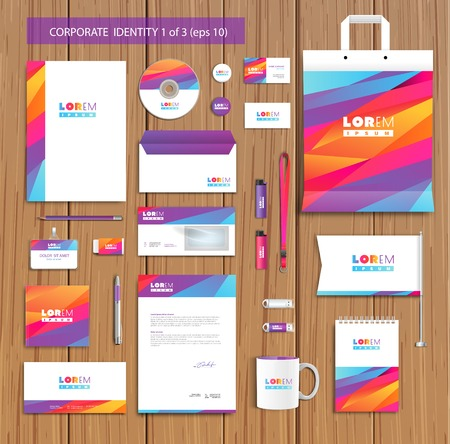 visual art: Vector artistic corporate identity template with color elements.